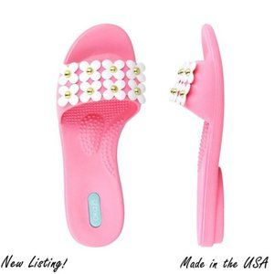 Pink Slides with White Flowers